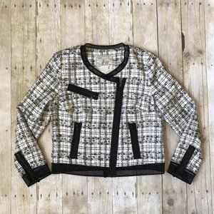 Milly Tweed and Mesh Black and White Moto Jacket